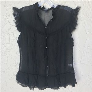 BANANA REPUBLIC Black 100% Silk Blouse Size M